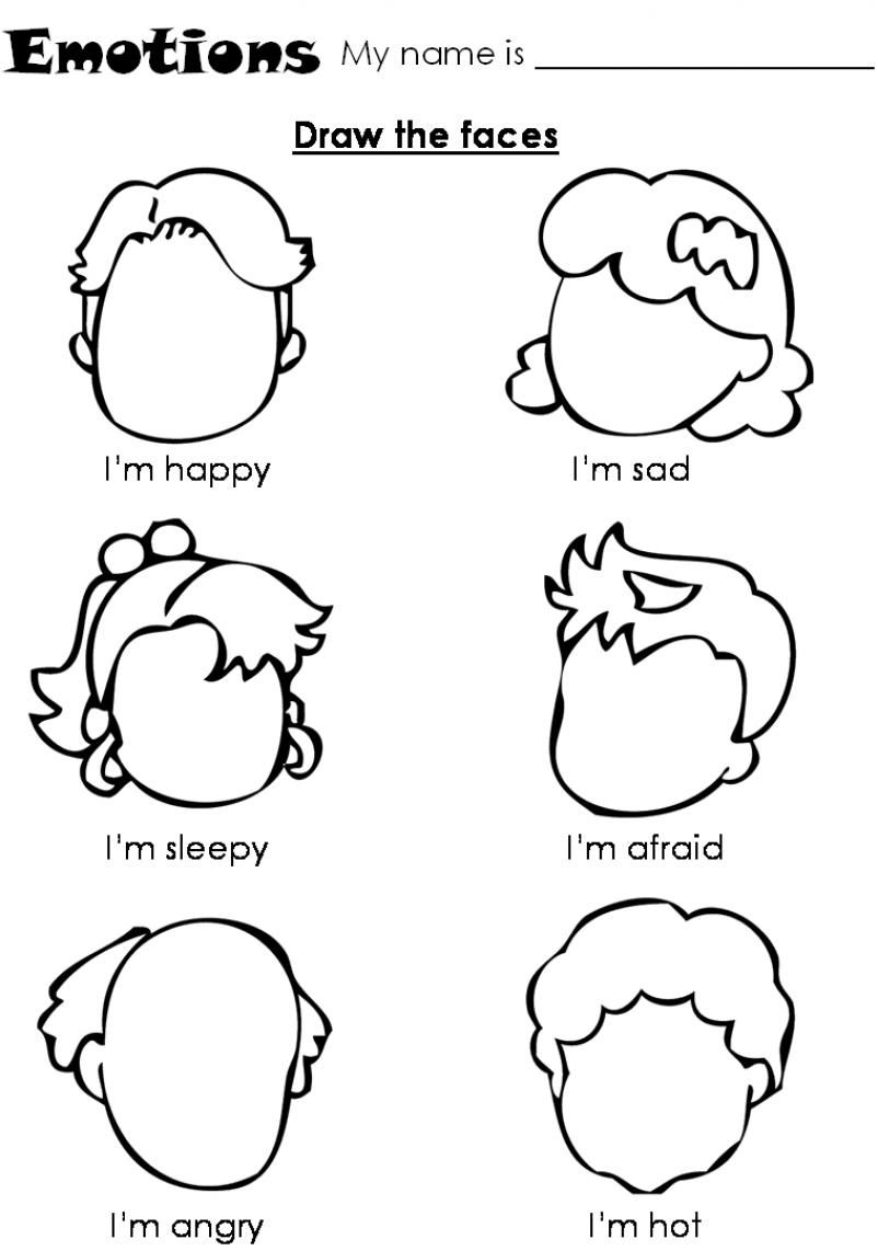Emotions Worksheets Pre K 1204945
