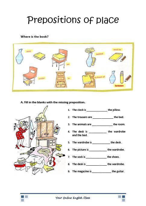 English Grammar Prepositions Of Place Worksheets For Kids (esl Ell