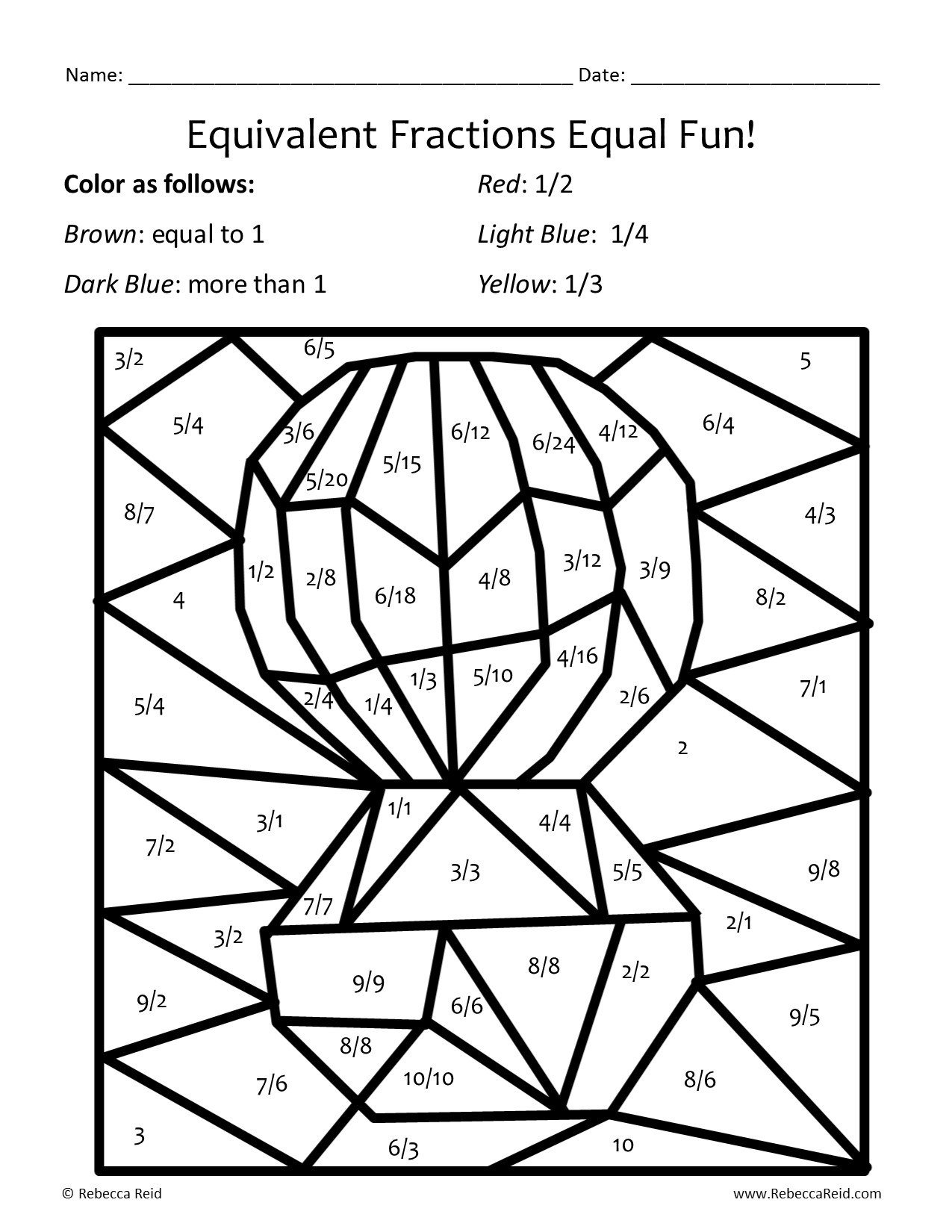 Equivalent Fraction Coloring Worksheets