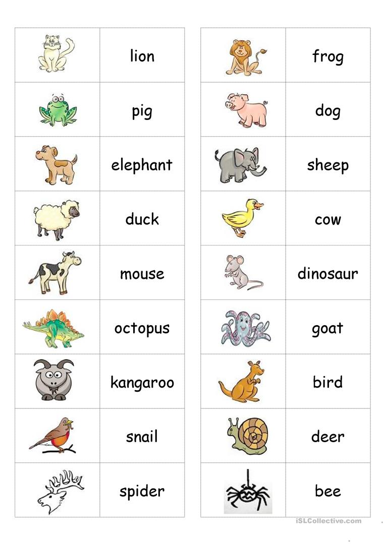 Esl Kindergarten Animal Worksheets 275501