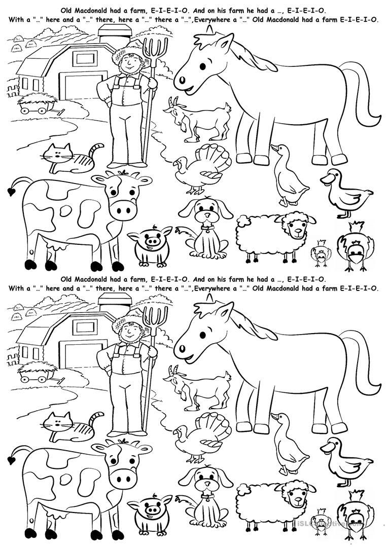 Esl Kindergarten Animal Worksheets 275515