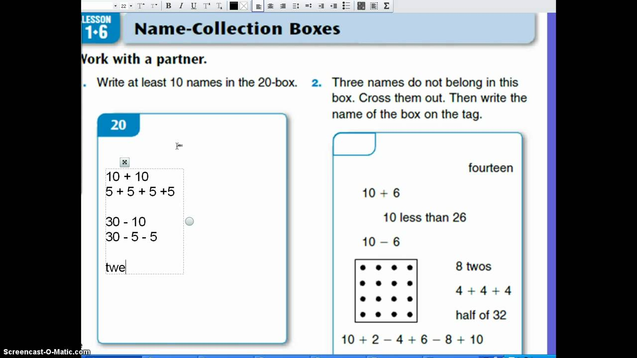 Everyday Math Lesson 1 6 Name Collection Boxes Youtube 4th Grade