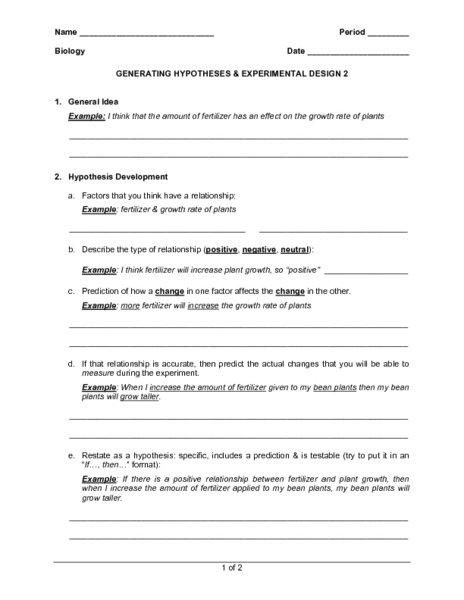 Experimental Design Worksheet Answers Experimental Design