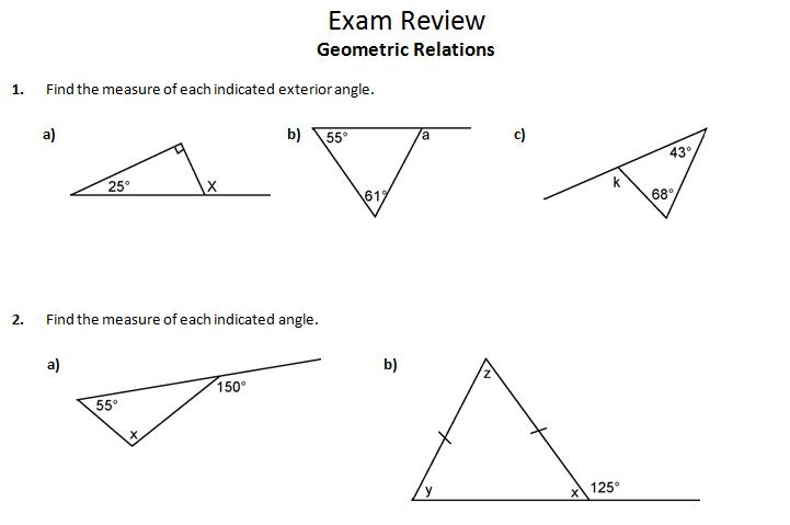 Exterior Angle Theorem Worksheet Triangle Exterior Angle Theorem