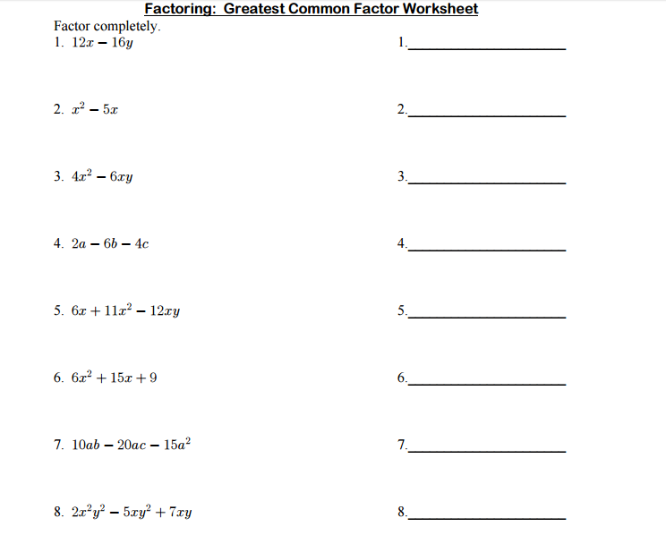 Greatest  mon factor 1to 20  from Study Village website     great additionally Greatest  mon Factor Worksheets as well Factoring  Greatest  mon Factor  GCF  with polynomials by moreover Factoring Greatest  mon Factor Worksheet   Q O U N further worksheet  Factoring Greatest  mon Factor Worksheet  Worksheet Fun also factoring greatest  mon factor worksheets – mypalate co also Determining Greatest  mon Factors of Sets of Two Numbers from 4 to additionally Factoring Polynomials By Finding The Greatest  mon Factor ✓ How moreover Factoring the greatest  mon monomial factor besides gcf and distributive property worksheets – kenkoman info as well Greatest  mon Factor And Least Multiple Worksheet Printable Math likewise  furthermore Worksheet Factoring Gcf And Difference Of Squares further  additionally Factoring Greatest  mon Factor Worksheet Answers   Free Worksheet moreover GCF and grouping WS   Alge II Name Worksheet 1 Factoring. on factoring greatest common factor worksheet