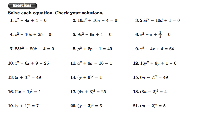 Factoring Perfect Square Trinomials Worksheet The Best Worksheets
