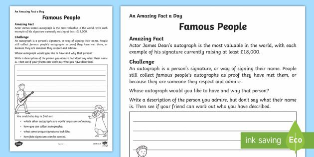 Famous People Worksheet   Activity Sheet