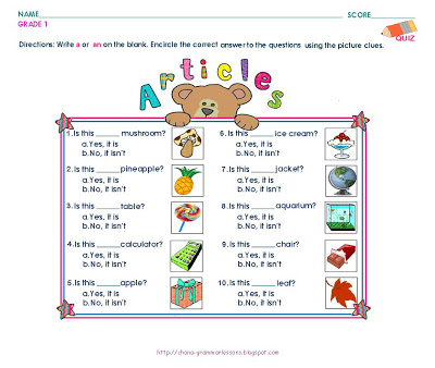 Fascinating English Worksheets For Grade 2 Articles With Grammar