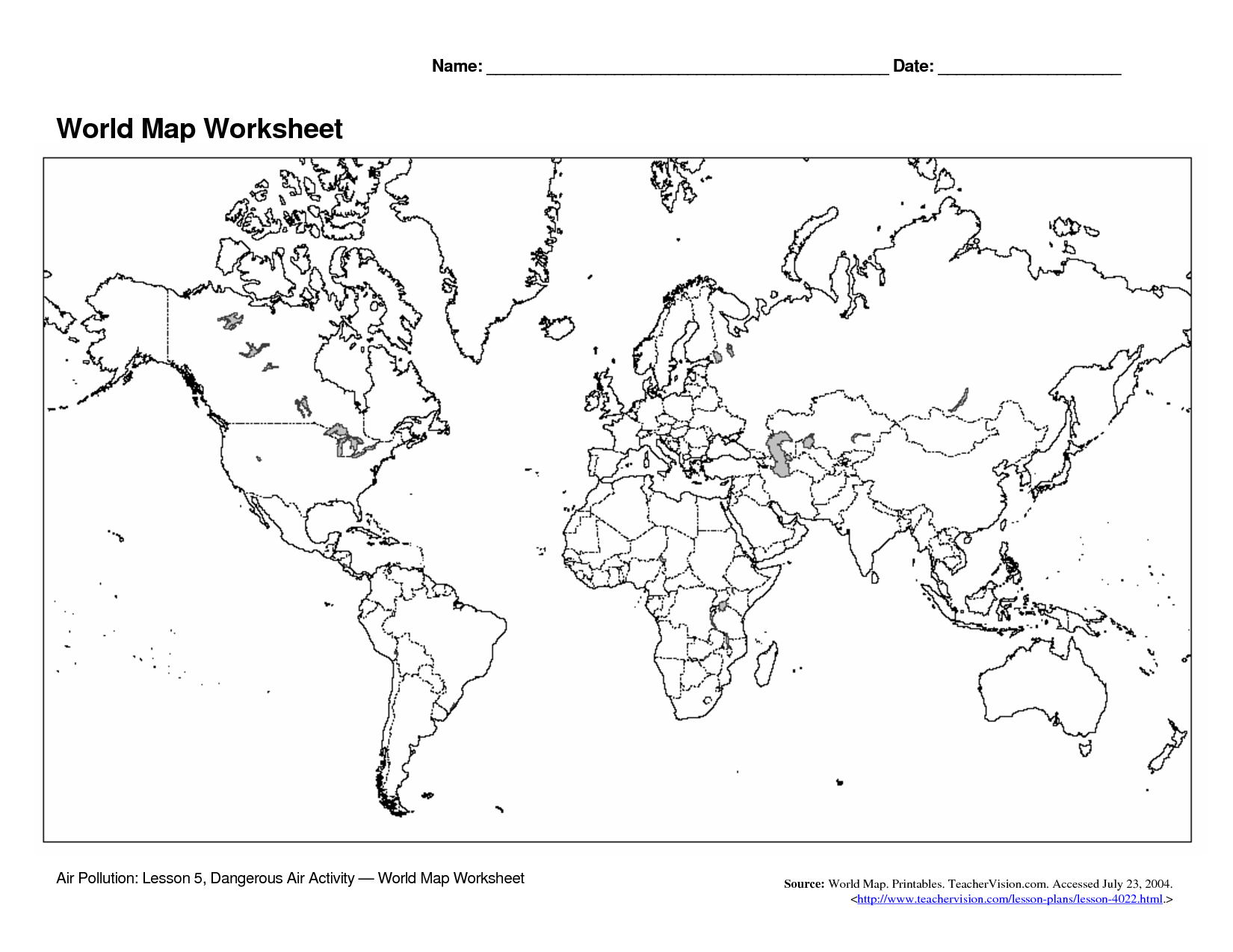 Fill In The Blank World Map Worksheet The Best Worksheets Image