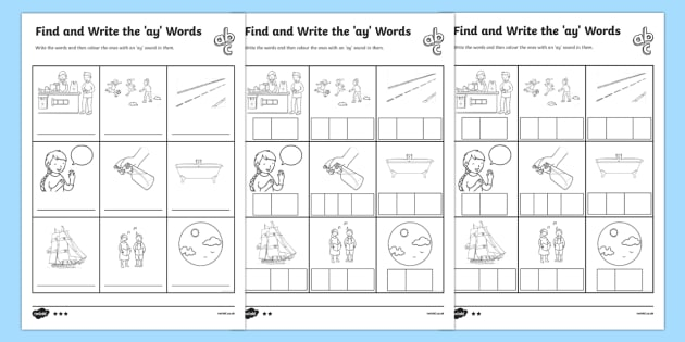 Find And Write The Ay Words Differentiated Worksheet   Activity