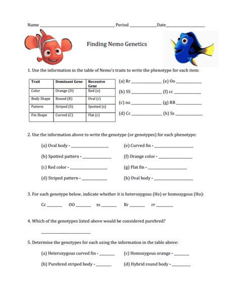 Finding Nemo Worksheet 839556