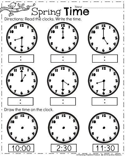 First Grade Math Clock Worksheets 693876