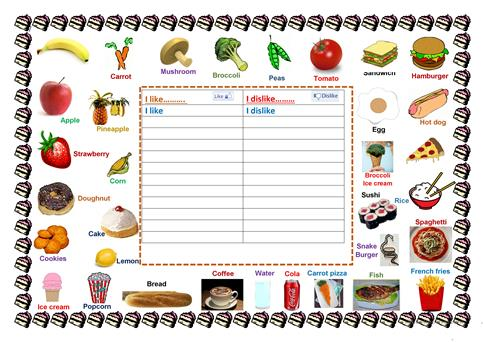 Foods I Like & Dislike Worksheet