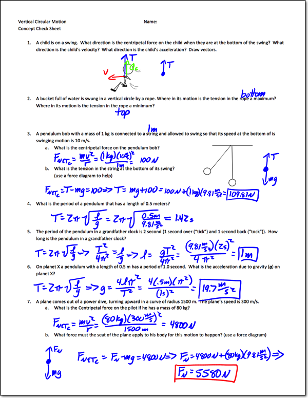 Force And Motion Worksheet Answers Centripetal Acceleration