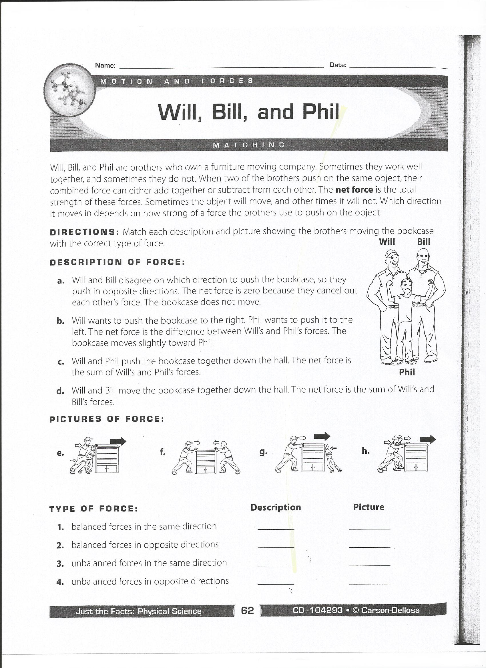Force And Motion Worksheets Middle School The Best Worksheets
