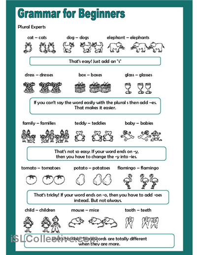 Formidable Free English Worksheets Plurals Also Grammar For