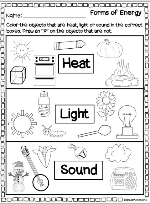 Forms Of Energy Worksheet Forms Of Energy Heat Light Sound