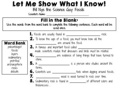 Fossils Worksheets 4th Grade