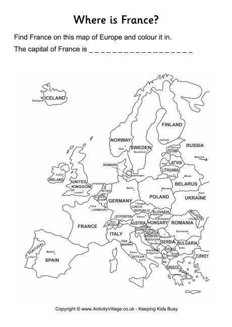 France Location Worksheet