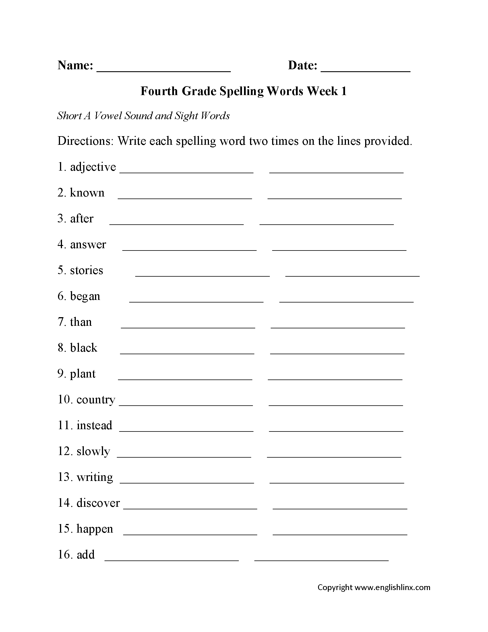 Free 4th Grade Spelling Worksheets The Best Worksheets Image
