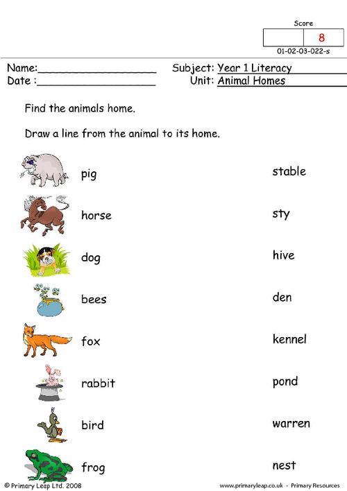 Free Animal Homes Worksheets For Kindergarten 192705