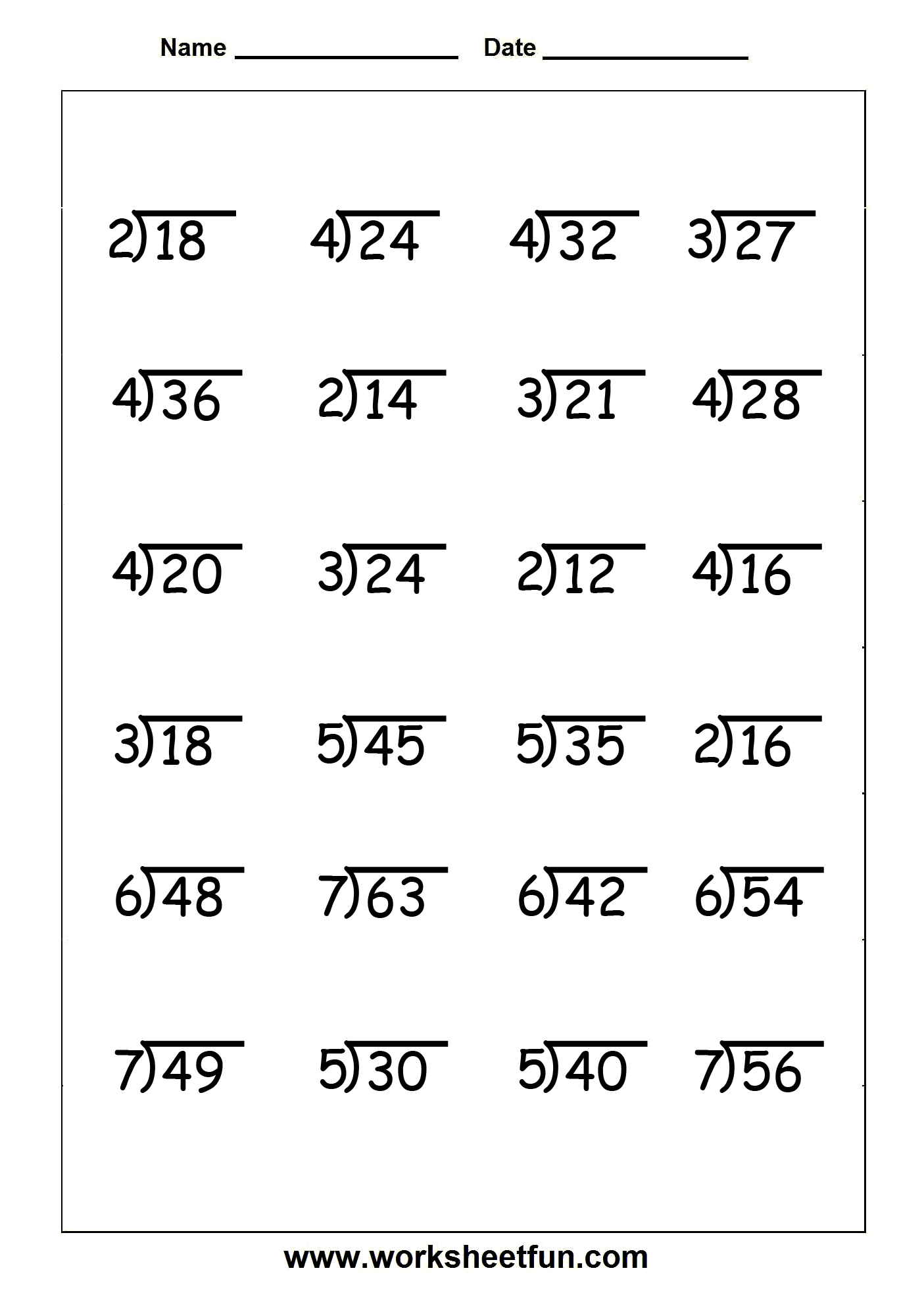 Free Division Worksheets For 4th Grade 1200467