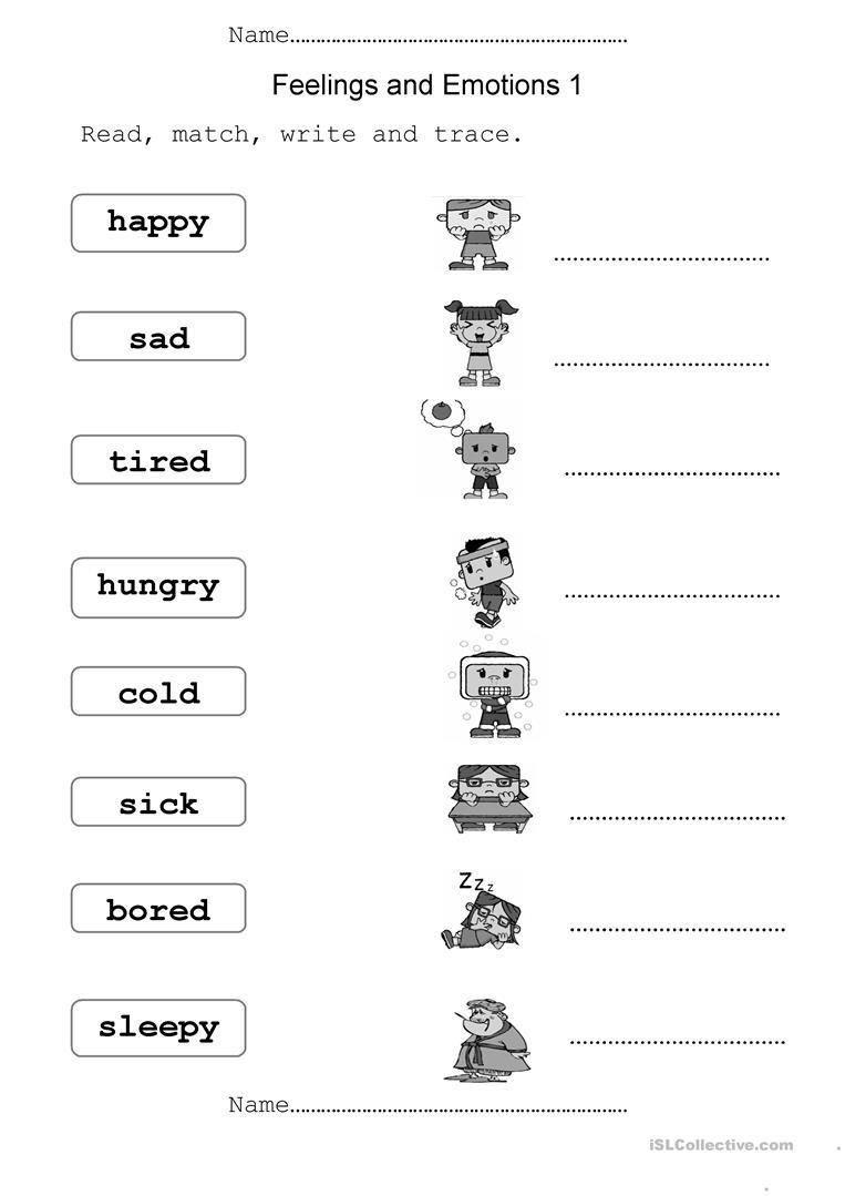 Free Emotions Worksheets For Kindergarten 371104