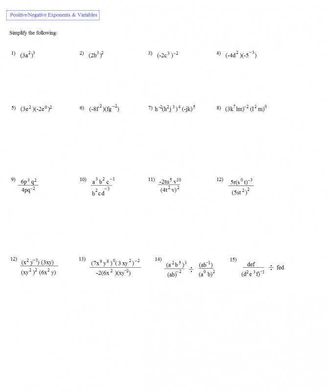 Free Exponents Worksheets Simplifying Worksheet