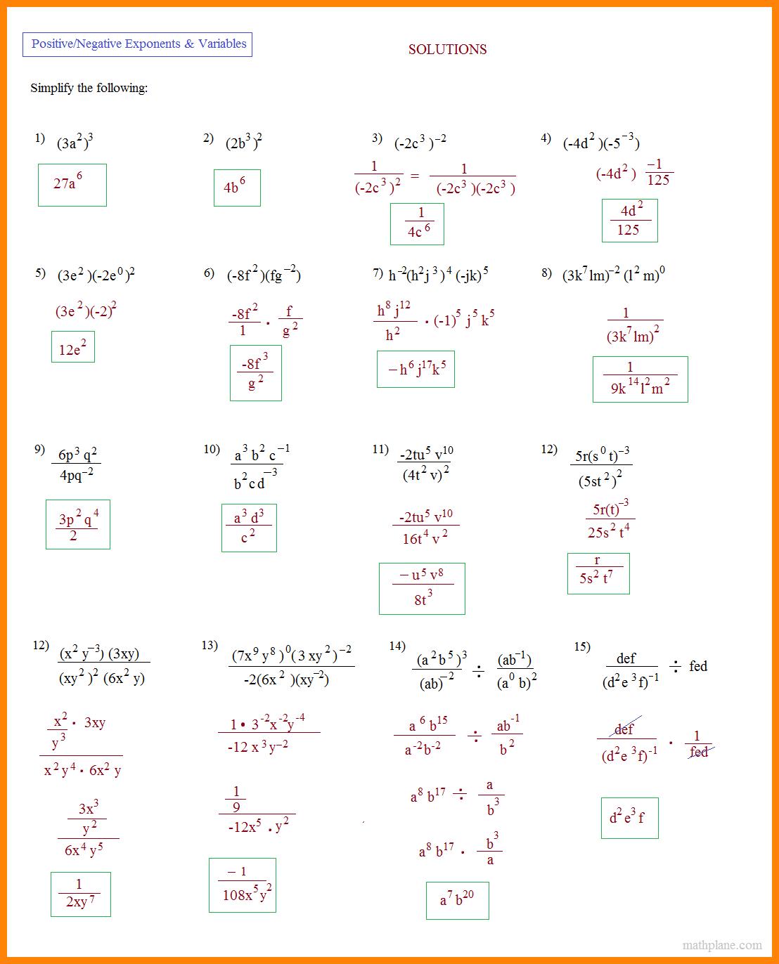 Free Exponents Worksheets Simplifying Worksheet