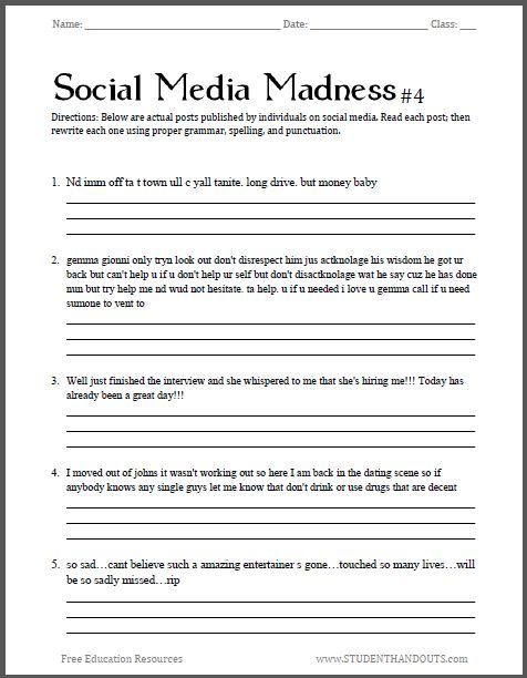 Free High School English Worksheets The Best Worksheets Image