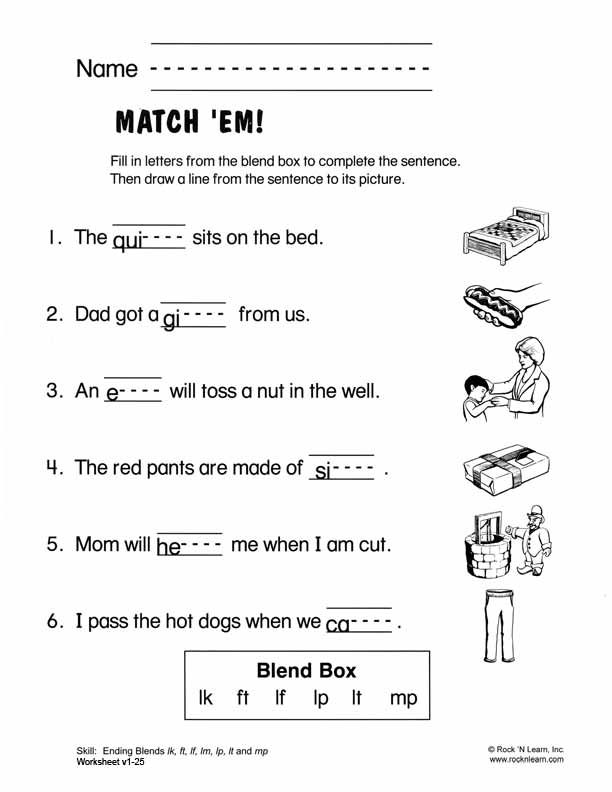 Free Kindergarten Consonant Blends Worksheets 1420993