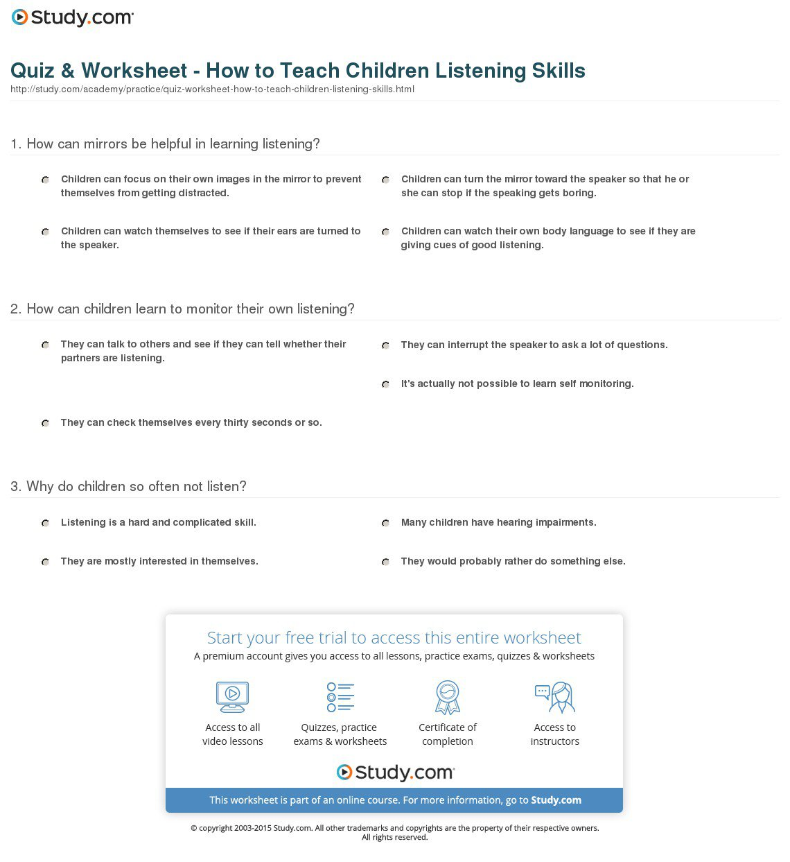 Free Listening Comprehension Worksheets Kindergarten 2957