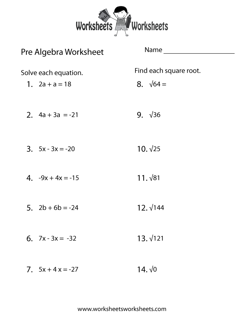Free Math Worksheets For 6th Grade Pre Algebra 357483