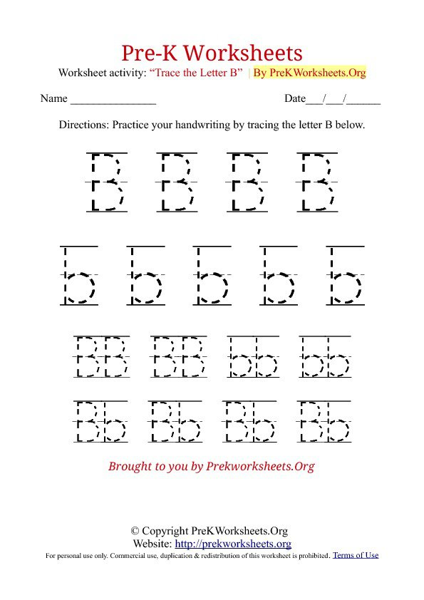 Free Pre K Worksheets Tracing The Best Worksheets Image Collection
