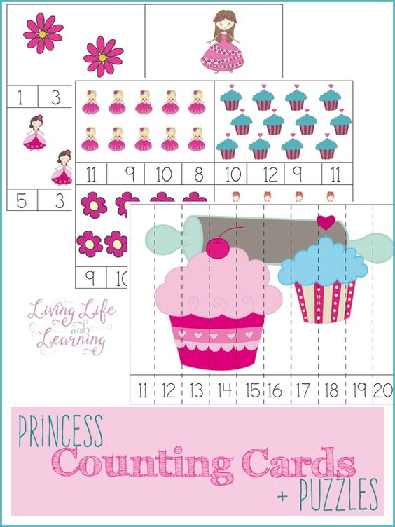 Free Princess Counting Cards And Puzzles