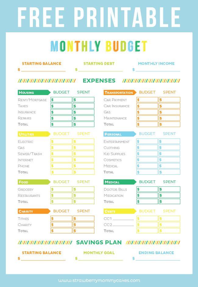 Free Printable Budget Worksheets Free Printable Budget Sheet