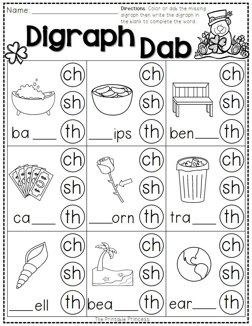 Free Printable Digraph Worksheets For Kindergarten 940337