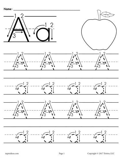 Free Printable Letter A Tracing Worksheet With Number And Arrow
