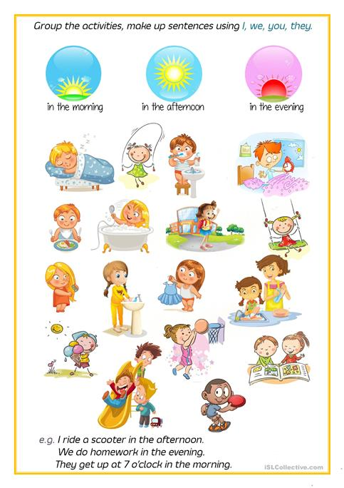 Free Time Activities Daily Routines + Parts Of The Day Worksheet