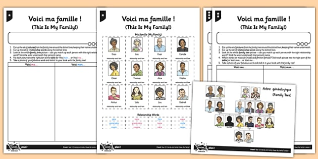 French Worksheet   Activity Sheet Voici Ma Famille