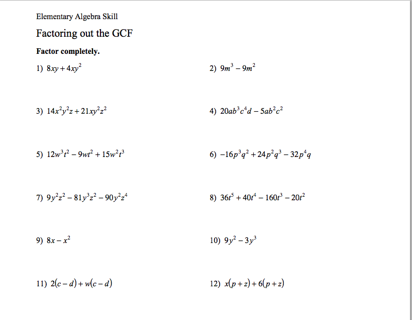 Gcf Factoring Polynomials Worksheet Choice Image