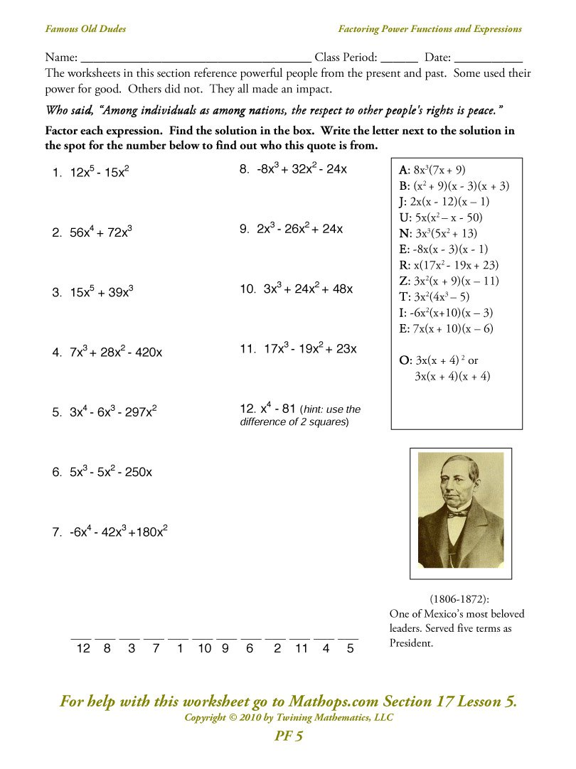 Gcf Polynomials Worksheet The Best Worksheets Image Collection