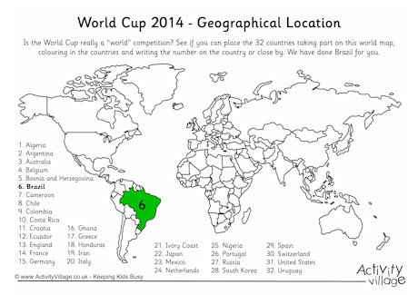 Geography And The World Cup Play Map Worksheet