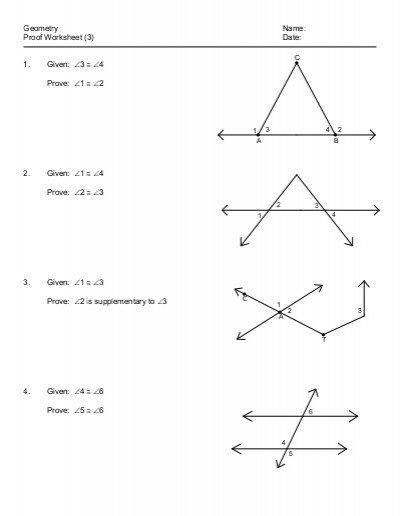 Geometric Proofs Worksheet 894531