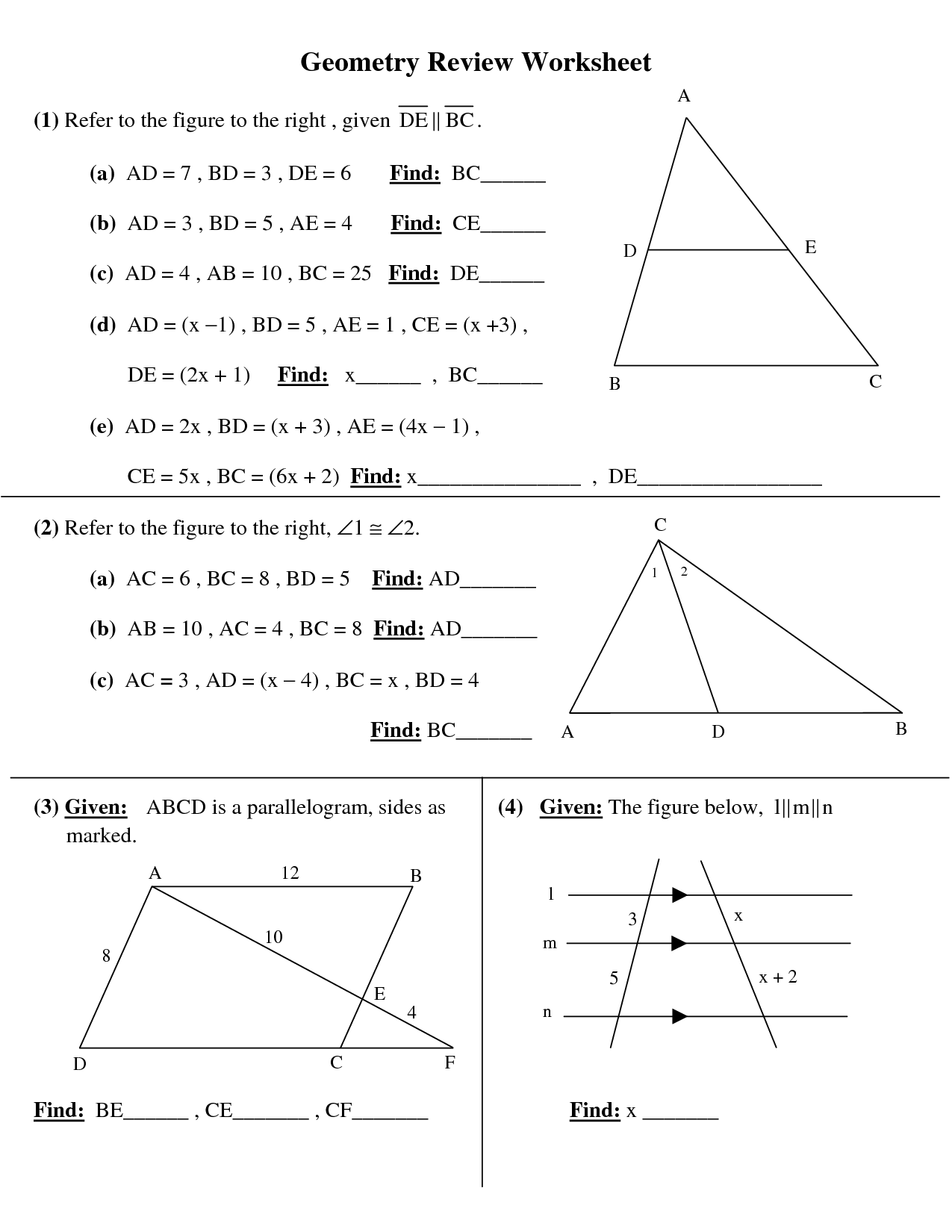 Geometry Problems Worksheet The Best Worksheets Image Collection
