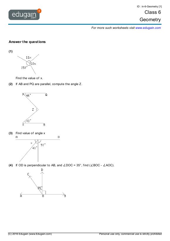 Geometry Problems Worksheets The Best Worksheets Image Collection
