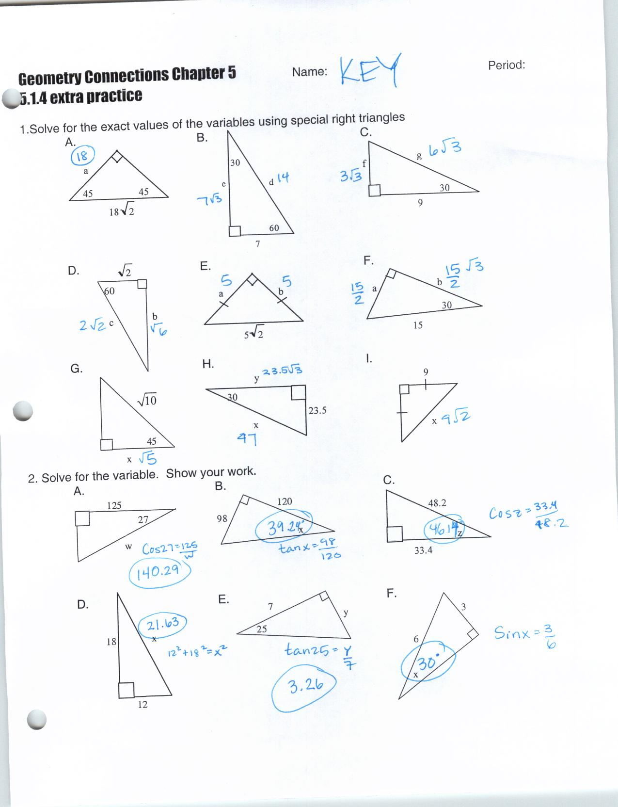 Geometry Special Right Triangles Worksheet Answers The Best