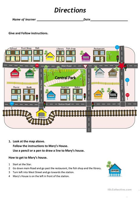 Give And Follow Directions On A Map Worksheet
