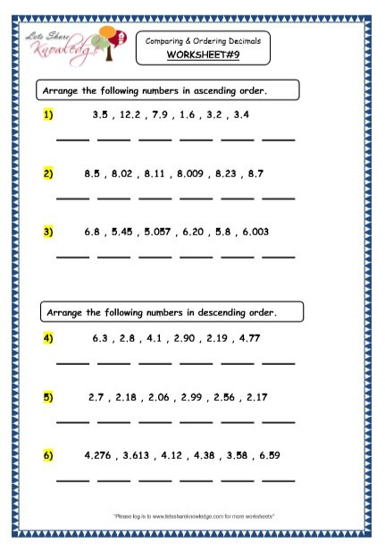 Grade 4 Maths Resources (3 3 Comparing And Ordering Decimals