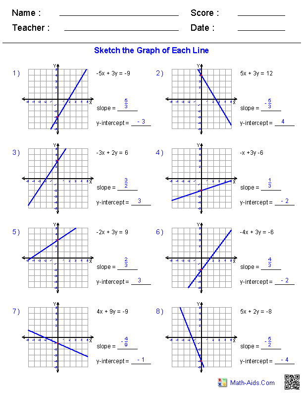 Graphing Linear Equations By Plotting Points Worksheet Answers